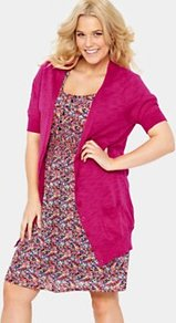 Short Sleeve Cardigan, Pink - pattern: plain; length: below the bottom; neckline: collarless open; predominant colour: hot pink; occasions: casual, work; style: standard; fibres: cotton - 100%; fit: standard fit; sleeve length: short sleeve; sleeve style: standard; texture group: knits/crochet; pattern type: fabric