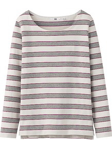 Women Striped Boat Neck Long Sleeve T Shirt B 03 Gray - neckline: slash/boat neckline; pattern: horizontal stripes; style: t-shirt; predominant colour: light grey; occasions: casual; length: standard; fibres: cotton - 100%; fit: straight cut; sleeve length: long sleeve; sleeve style: standard; pattern type: fabric; pattern size: standard; texture group: jersey - stretchy/drapey