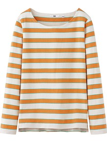 Women Striped Boat Neck Long Sleeve T Shirt B 20 Light Oran - neckline: round neck; pattern: horizontal stripes; style: t-shirt; predominant colour: bright orange; occasions: casual; length: standard; fibres: cotton - 100%; fit: straight cut; sleeve length: long sleeve; sleeve style: standard; pattern type: fabric; pattern size: standard; texture group: jersey - stretchy/drapey