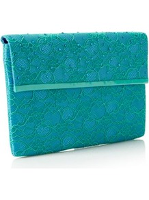 Aqua Large Lace Clutch Bag - predominant colour: turquoise; occasions: evening, occasion; type of pattern: standard; style: clutch; length: hand carry; size: small; material: lace; embellishment: beading; pattern: plain; finish: plain
