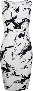 Petite Japanese Brush Print Dress - style: shift; neckline: v-neck; fit: tailored/fitted; sleeve style: sleeveless; predominant colour: white; occasions: evening, occasion; length: just above the knee; sleeve length: sleeveless; pattern type: fabric; pattern size: standard; pattern: patterned/print; texture group: jersey - stretchy/drapey; fibres: viscose/rayon - mix