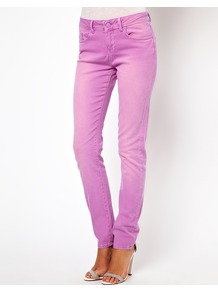 Elgin Supersoft Skinny Jeans In Washed Peony - style: skinny leg; length: standard; pattern: plain; pocket detail: traditional 5 pocket; waist: mid/regular rise; predominant colour: lilac; occasions: casual, evening, holiday; fibres: cotton - stretch; texture group: denim; pattern type: fabric