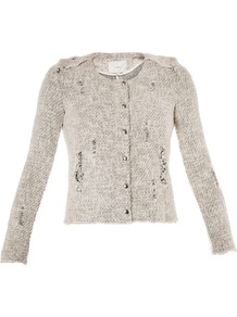 Regan Distressed Zip Front Jacket - pattern: plain; collar: round collar/collarless; style: boxy; predominant colour: white; occasions: casual, work; length: standard; fit: straight cut (boxy); fibres: cotton - mix; sleeve length: long sleeve; sleeve style: standard; collar break: high; pattern type: fabric; pattern size: standard; texture group: woven light midweight; embellishment: chain/metal
