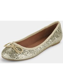 Winslet Shimmer Mesh Bow Ballerina, Black - predominant colour: gold; occasions: casual, evening, holiday; material: fabric; heel height: flat; embellishment: glitter; toe: round toe; style: ballerinas / pumps; trends: metallics; finish: metallic; pattern: plain