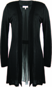 Black Pleat Insert Cardigan - pattern: plain; neckline: shawl; length: below the bottom; back detail: contrast pattern/fabric at back; style: open front; predominant colour: black; occasions: casual, evening, work; fibres: polyester/polyamide - mix; fit: loose; sleeve length: long sleeve; sleeve style: standard; texture group: knits/crochet; pattern type: knitted - fine stitch; pattern size: standard