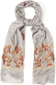 Marais Scarf - predominant colour: light grey; occasions: casual, work, holiday; type of pattern: light; style: regular; size: standard; material: fabric; embellishment: embroidered, fringing; pattern: patterned/print