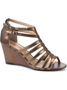 Gold Roman Wedge Sandals - predominant colour: bronze; occasions: casual, evening, holiday; material: faux leather; heel height: mid; embellishment: buckles; ankle detail: ankle strap; heel: wedge; toe: open toe/peeptoe; style: gladiators; finish: metallic; pattern: plain