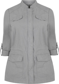 Grey Four Pocket Lightweight Jacket - pattern: plain; length: below the bottom; collar: mandarin; style: single breasted; predominant colour: light grey; occasions: casual; fit: straight cut (boxy); fibres: cotton - 100%; sleeve length: 3/4 length; sleeve style: standard; texture group: cotton feel fabrics; collar break: high