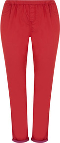 Red Two Tone Jeggings - length: standard; pattern: plain; style: leggings; waist detail: elasticated waist, narrow waistband; waist: mid/regular rise; predominant colour: true red; occasions: casual, evening, holiday; fibres: cotton - stretch; hip detail: front pleats at hip level; jeans & bottoms detail: turn ups; texture group: denim; fit: skinny/tight leg; pattern type: fabric; pattern size: standard