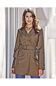 Peplum Trench Coat - pattern: plain; length: below the bottom; style: trench coat; collar: standard lapel/rever collar; predominant colour: khaki; occasions: casual, evening, work; fit: tailored/fitted; fibres: polyester/polyamide - 100%; waist detail: belted waist/tie at waist/drawstring; sleeve length: long sleeve; sleeve style: standard; texture group: technical outdoor fabrics; collar break: medium; pattern type: fabric; pattern size: standard