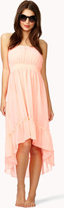 High Low Chiffon Cover Up Dress - neckline: strapless (straight/sweetheart); fit: empire; pattern: plain; sleeve style: strapless; waist detail: fitted waist; predominant colour: blush; occasions: casual, holiday; length: just above the knee; style: asymmetric (hem); fibres: polyester/polyamide - 100%; hip detail: ruching/gathering at hip; back detail: longer hem at back than at front; sleeve length: sleeveless; texture group: sheer fabrics/chiffon/organza etc.; pattern type: fabric; pattern size: standard