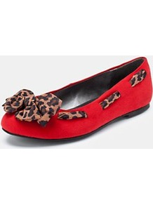 Dowling Extra Wide Fit Ballerina Shoes Red, Red - predominant colour: true red; occasions: casual, work; material: fabric; heel height: flat; embellishment: ribbon; toe: round toe; style: ballerinas / pumps; finish: plain; pattern: animal print