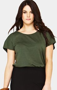 Cross Back Garment Dyed Tshirt, Khaki - neckline: round neck; pattern: plain; style: t-shirt; predominant colour: khaki; occasions: casual; length: standard; fibres: cotton - mix; fit: body skimming; sleeve length: short sleeve; sleeve style: standard; pattern type: fabric; texture group: jersey - stretchy/drapey