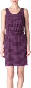 Izzie Dot Print Dress - length: mid thigh; neckline: round neck; fit: fitted at waist; pattern: horizontal stripes; sleeve style: sleeveless; waist detail: fitted waist; style: vest; back detail: low cut/open back; predominant colour: purple; occasions: casual, evening, work, holiday; fibres: silk - 100%; sleeve length: sleeveless; pattern type: fabric; pattern size: small & busy; texture group: jersey - stretchy/drapey