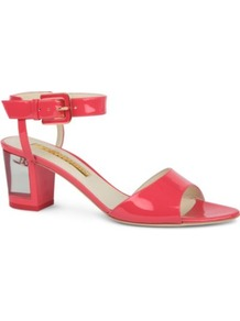 Rostella Patent Leather Sandals - predominant colour: coral; occasions: casual, evening, work, holiday; material: leather; heel height: mid; embellishment: buckles; ankle detail: ankle strap; heel: block; toe: open toe/peeptoe; style: standard; finish: patent; pattern: plain