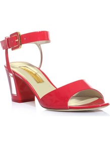 Rosella Perspex Heel Sandals - predominant colour: true red; occasions: casual, evening, occasion, holiday; material: leather; heel height: mid; embellishment: buckles; ankle detail: ankle strap; heel: block; toe: open toe/peeptoe; style: standard; finish: patent; pattern: plain