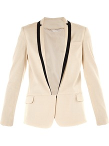 Ramona Jacket - pattern: plain; style: single breasted blazer; collar: standard lapel/rever collar; predominant colour: white; occasions: evening, work, occasion; length: standard; fit: tailored/fitted; waist detail: fitted waist; sleeve length: long sleeve; sleeve style: standard; trends: tuxedo; collar break: low/open; pattern type: fabric; pattern size: small & light; texture group: woven light midweight; fibres: linen - stretch