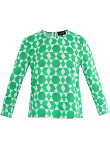 Marie Emerald Print Top - neckline: round neck; predominant colour: emerald green; occasions: casual, work; length: standard; style: top; fibres: cotton - 100%; fit: straight cut; sleeve length: 3/4 length; sleeve style: standard; texture group: cotton feel fabrics; trends: modern geometrics; pattern type: fabric; pattern size: big &amp; busy; pattern: patterned/print