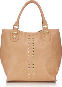 Camel Shopper Bag - predominant colour: camel; occasions: casual, work, holiday; type of pattern: small; style: tote; length: handle; size: standard; material: faux leather; embellishment: studs; pattern: plain; trends: metallics; finish: plain