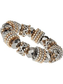 Facet And Mix Bead Bracelet - predominant colour: silver; occasions: casual, evening, work, occasion; style: bangle; size: standard; material: chain/metal; finish: metallic; embellishment: beading