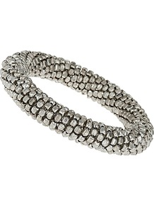 Silver Coil Bracelet - predominant colour: silver; occasions: casual, evening, work; style: bangle; size: standard; material: chain/metal; finish: metallic; embellishment: beading