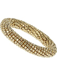 Gold Coil Bracelet - predominant colour: gold; occasions: casual, evening, work, occasion, holiday; style: bangle; size: standard; material: chain/metal; finish: metallic; embellishment: beading