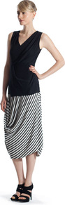 Ivory/Black Ruched Front Skirt - length: calf length; pattern: striped; fit: loose/voluminous; waist detail: elasticated waist; waist: high rise; predominant colour: black; occasions: casual, evening, work; style: asymmetric (hem); fibres: viscose/rayon - stretch; hip detail: soft pleats at hip/draping at hip/flared at hip; pattern type: fabric; pattern size: standard; texture group: jersey - stretchy/drapey