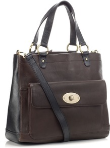 Eskdale Bag - predominant colour: chocolate brown; occasions: casual, evening, work; type of pattern: standard; style: tote; length: shoulder (tucks under arm); size: standard; material: leather; embellishment: studs; pattern: plain, two-tone; finish: plain