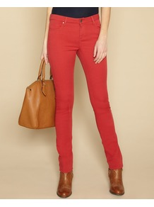 Lucy Slim Leg Jeans - length: standard; pattern: plain; pocket detail: traditional 5 pocket; style: slim leg; waist: mid/regular rise; predominant colour: true red; occasions: casual, evening; fibres: cotton - stretch; texture group: denim; pattern type: fabric; pattern size: standard
