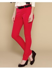 Lucy Slim Leg Jeans - length: standard; pattern: plain; pocket detail: traditional 5 pocket; style: slim leg; waist: mid/regular rise; predominant colour: true red; occasions: casual, evening; fibres: linen - 100%; jeans detail: dark wash; texture group: denim; pattern type: fabric; pattern size: standard