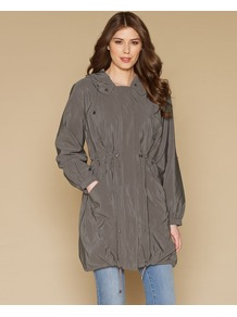 Simone Crinkle Parka - pattern: plain; hip detail: side pockets at hip; fit: loose; style: parka; back detail: hood; collar: high neck; length: mid thigh; predominant colour: charcoal; occasions: casual; fibres: polyester/polyamide - 100%; waist detail: belted waist/tie at waist/drawstring; sleeve length: long sleeve; sleeve style: standard; texture group: structured shiny - satin/tafetta/silk etc.; collar break: high; pattern type: fabric; pattern size: standard
