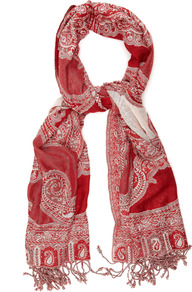 Milan Scarf - predominant colour: true red; occasions: casual, evening, work, holiday; type of pattern: heavy; style: regular; size: standard; material: fabric; embellishment: fringing, tassels; pattern: paisley, patterned/print; trends: statement prints