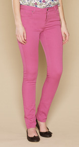 Lucy Slim Leg Jeans - style: skinny leg; length: standard; pattern: plain; pocket detail: traditional 5 pocket; waist: mid/regular rise; predominant colour: hot pink; occasions: casual; fibres: cotton - stretch; texture group: denim; pattern type: fabric; pattern size: standard