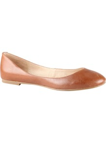 Chason Pump Shoes, Cognac - predominant colour: tan; occasions: casual, work; material: leather; heel height: flat; toe: round toe; style: ballerinas / pumps; finish: plain; pattern: plain