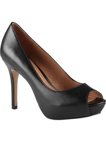 Gremmell Peep Toe Court Shoes, Black - predominant colour: black; occasions: evening, work, occasion; material: leather; heel height: high; heel: platform; toe: open toe/peeptoe; style: courts; finish: plain; pattern: plain