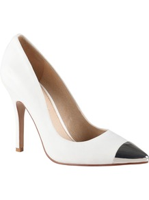 Essi Metal Toe Cap Court Shoes, White - predominant colour: white; occasions: evening, work, occasion; material: leather; heel height: high; heel: stiletto; toe: pointed toe; style: courts; finish: plain; pattern: plain; embellishment: toe cap