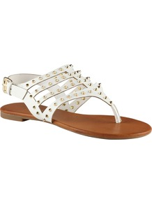 Barbara Flat Sandals, White - predominant colour: white; occasions: casual, holiday; material: faux leather; heel height: flat; embellishment: studs; ankle detail: ankle strap; heel: standard; toe: toe thongs; style: flip flops / toe post; finish: plain; pattern: plain