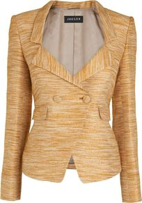 Women's Drop Lapel Blazer, Gold - pattern: plain; style: double breasted blazer; collar: standard lapel/rever collar; predominant colour: gold; occasions: evening, occasion; length: standard; fit: tailored/fitted; fibres: acrylic - mix; waist detail: fitted waist; sleeve length: long sleeve; sleeve style: standard; trends: tuxedo; collar break: medium; pattern type: fabric; texture group: woven light midweight