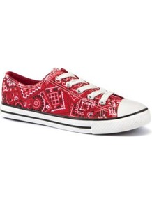 Red Bandanna Print Lace Up Trainers - predominant colour: true red; occasions: casual, holiday; material: fabric; heel height: flat; toe: round toe; style: trainers; finish: plain; pattern: patterned/print