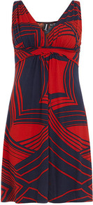 Navy Graphic Print Dress - style: shift; neckline: low v-neck; sleeve style: sleeveless; predominant colour: true red; occasions: casual, work; length: just above the knee; fit: body skimming; fibres: polyester/polyamide - stretch; sleeve length: sleeveless; pattern type: fabric; pattern size: standard; pattern: patterned/print; texture group: jersey - stretchy/drapey