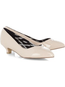 Nude Patent Sweetheart Court Shoes - predominant colour: ivory; occasions: evening, work, occasion; material: faux leather; heel height: mid; heel: kitten; toe: pointed toe; style: courts; finish: patent; pattern: plain