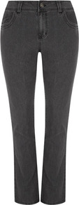 Grey Straight Leg Jeans - style: straight leg; length: standard; pattern: plain; pocket detail: traditional 5 pocket; waist: mid/regular rise; predominant colour: charcoal; occasions: casual; fibres: cotton - mix; jeans detail: dark wash; texture group: denim; pattern type: fabric