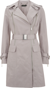 Double Zip Trench Coat - pattern: plain; collar: asymmetric biker; style: trench coat; length: mid thigh; predominant colour: light grey; occasions: casual, evening, work; fit: tailored/fitted; fibres: polyester/polyamide - 100%; waist detail: belted waist/tie at waist/drawstring; sleeve length: long sleeve; sleeve style: standard; texture group: cotton feel fabrics; collar break: medium; pattern type: fabric; pattern size: standard