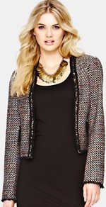 Alana Cropped Jacket - length: cropped; style: boxy; pattern: herringbone/tweed; secondary colour: black; occasions: evening; fit: straight cut (boxy); fibres: acrylic - mix; predominant colour: multicoloured; sleeve length: long sleeve; sleeve style: standard; collar break: low/open; pattern type: fabric; pattern size: small & busy; texture group: tweed - bulky/heavy