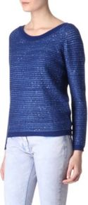 Soft Sequin Jumper - neckline: scoop neck; pattern: plain; style: standard; predominant colour: navy; occasions: casual, evening, work; length: standard; fibres: cotton - mix; fit: standard fit; sleeve length: long sleeve; sleeve style: standard; texture group: knits/crochet; pattern type: knitted - fine stitch; pattern size: standard; embellishment: sequins