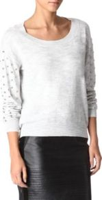Sunday Cotton Blend Knitted Jumper - pattern: plain; style: standard; predominant colour: light grey; occasions: casual, evening, work; length: standard; neckline: scoop; fibres: cotton - mix; fit: standard fit; shoulder detail: added shoulder detail; sleeve length: long sleeve; sleeve style: standard; texture group: knits/crochet; pattern type: knitted - fine stitch; pattern size: small &amp; light; embellishment: studs