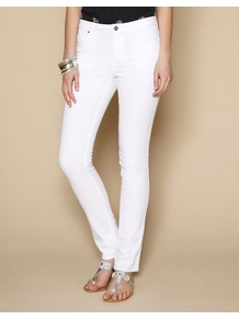 Lucy Slim Leg Jeans - length: standard; pattern: plain; pocket detail: traditional 5 pocket; style: slim leg; waist: mid/regular rise; predominant colour: white; occasions: casual, evening, holiday; fibres: cotton - stretch; texture group: denim; pattern type: fabric; pattern size: standard
