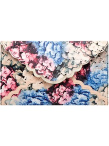 Floral Print Clutch - occasions: casual, evening, occasion; predominant colour: multicoloured; type of pattern: heavy; style: clutch; length: hand carry; size: standard; material: fabric; pattern: florals; trends: high impact florals; finish: plain; embellishment: chain/metal