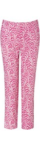 Fuchsia Multi Silk Pants - waist: mid/regular rise; predominant colour: hot pink; occasions: casual, evening, holiday; length: ankle length; fibres: silk - 100%; texture group: crepes; fit: straight leg; pattern type: fabric; pattern size: standard; pattern: patterned/print; style: standard
