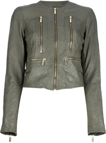 Leather Jacket - pattern: plain; style: biker; collar: round collar/collarless; length: cropped; predominant colour: sage; occasions: casual, evening, work; fit: straight cut (boxy); fibres: leather - 100%; sleeve length: long sleeve; sleeve style: standard; texture group: leather; collar break: high; pattern type: fabric